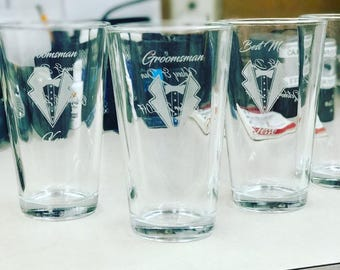 laser Etched Personalized Pint Glasses, Custom orders avalible