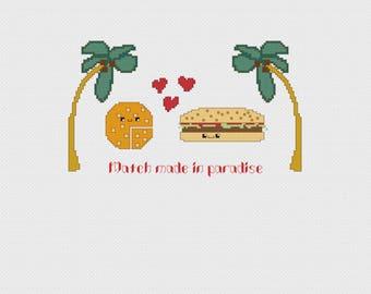 Kawaii Cheese + Burger in Paradise Cross Stitch Pattern