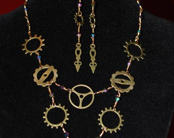 Steampunk Style Crystals and Gears 2 pieces set