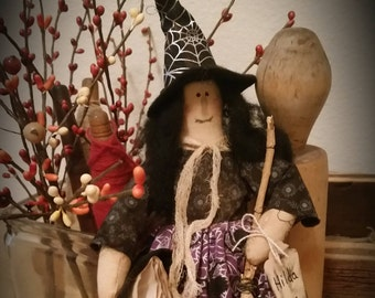 primitive OOAK Halloween witch doll, raggedy witch doll with spell book and broom, Halloween decor, cupboard tuck,raggedy doll,OFG,FAAP,