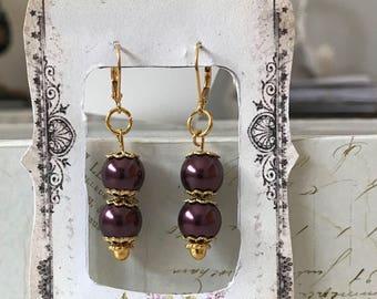 10mm wine Crystal bead earrings