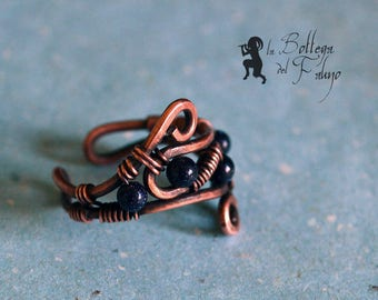 Copper ring and aventurine