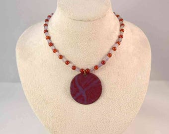 Handmade Enamel Pendant and Beaded Necklace - Red - Purple - Amethyst - Glass - One-of-a-Kind - Gifts for Her - Christmas