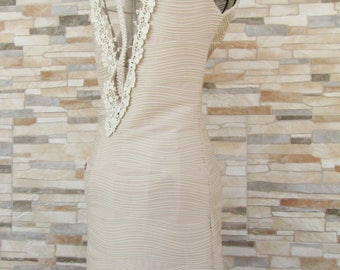 Dress in shades of Ecru with Cream Lace