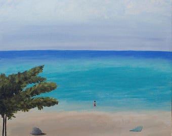 The Beach | 12x16 Acrylic Painting on Canvas | Coastal Painting | Ocean Art | Contemporary Wall Art | Blue