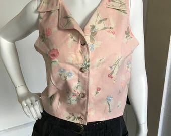 Small 90's pink floral sleeveless top