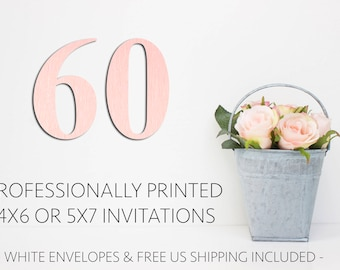 60 Professionally Printed Invitations with White Envelopes and Free US Shipping, Printed Invitations, Printing Service