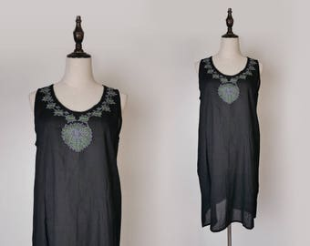 Black Women Casual Dress Floral Embroider 1980s Sleeveless Vest Style Size M