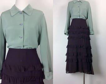 vintage silk blouse/ minimalist silk top/ silk shirt/ olive green shirt women's size M