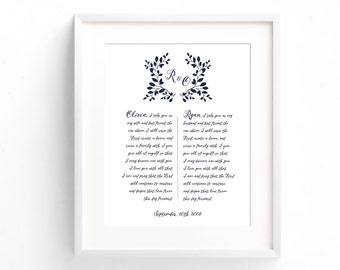 Paper Anniversary Gift - First Anniversary Gift - Wedding Vow Print - Wedding Vow Art - Wedding Vow Keepsake - Wedding Gift - Wedding Vows