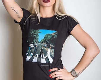 Official Licensed The Beatles Ladies T-Shirt, Abbey Road T Shirt, Beatles T Shirt. FRONT + BACK Prints