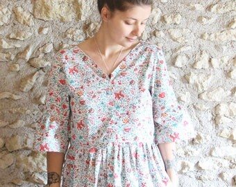 Gathered Bohemian blouse, green and Red liberty blouse, puffed sleeves
