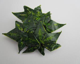 Green leaf brooch, Green leaf jewelry, green brooch, paper leaves, paper jewellery, paper brooch, one-of-a-kind, OOAK, leaf brooch