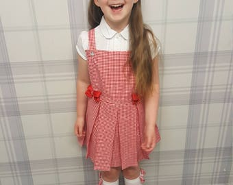 Custom school pinafore and knee high socks...FREE matching hair bobbles or hair bow