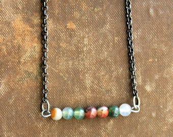 Gemstone Bead Bar Necklace