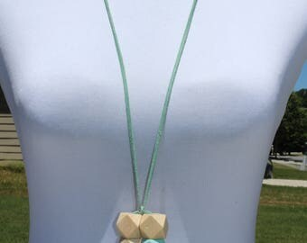 Bold Geometric Natural and Painted Wood Bead Necklace