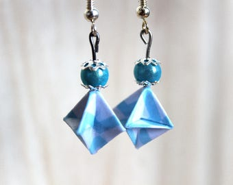 Origami earrings, japanese chiyogami paper