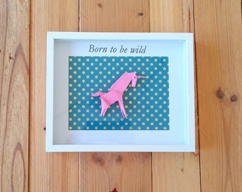Cuadro Unicornio, cuadro origami, cuadro unicornio de papel, cuadro animales, cuadro animales de papel, cuadro unicornio rosa,regalo niña