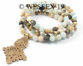 Amazonite Necklace   Ethiopian Cross Necklace   Boho Necklace   African Necklace   Coptic Cross Necklace   Long Beaded Necklace