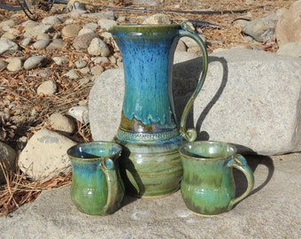 Pottery Pitcher Set, One and a half  Quart Pitcher, Wheel Thrown Pitcher Set, Ceramic Pitcher Set, Hand Made Pitcher Set