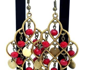 Chandelier earrings Oriental moucharabieh