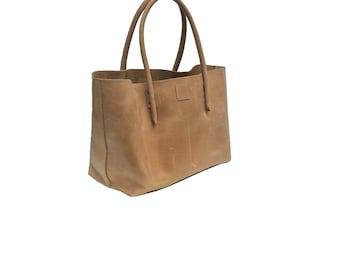 Leather bag used look leather natural beige Ledershopper/leather bag vintage design/Shopping bag handmade