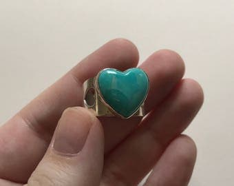 Large Vintage Heart Shaped Sleeping Beauty Turquoise Filigree 925 Sterling Silver Ring