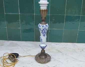 Base for table lamp in bronze and blue ceramics of Delft