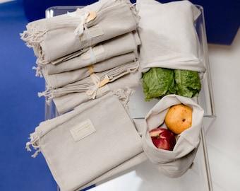 Organic Cotton Gauze Produce Bags - Small - Single or Set of 3