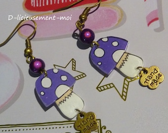 Crazy crazy plastic purple mushroom and flower hand made Pearl miracle charm bronze metal earrings