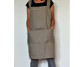 Linen pinafore apron, cross back linen apron, linen apron for women, linen apron, artist smock, japanese apron, artist apron,plus size apron