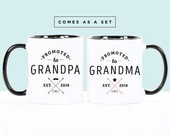 Pregnancy Reveal Mugs, Grandma to be, Grandpa to be, Grandparents Gift, Grandma Mug, Grandpa Mug, Gift for Grandma, Promoted to Mugs