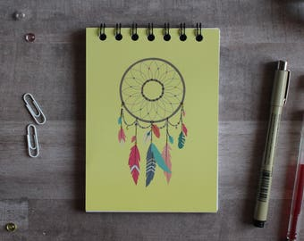 NOTEPAD. A6 Cute Yellow Dreamcatcher Spiral Notepad. Soft 300 gsm Card Cover. 120 blank pages. Matte lamination pleasant to the touch.
