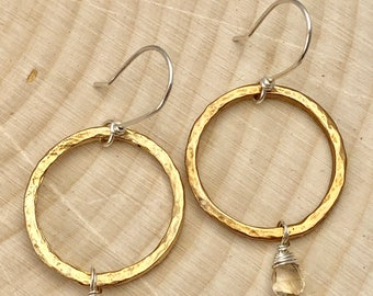 Mixed Metal Hammered Circle Hoop Bronze Smokey Quartz Earrings #656