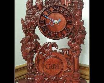 Daenerys Targaryen, Daenerys Dragons, Khaleesi, Mother of Dragons, Game of Thrones Clock, Custom Mantle Clock, GoT Gift, Game of Thrones Art