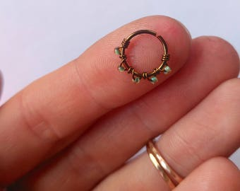 24g nose ring, 22g nose ring hoop, boho nose ring, flower nose ring, nosering, hammered nose hoop, gold septum ring, tragus piercing, daith