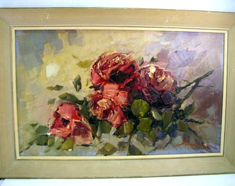 """Mid Century MODERNIST ROSES PAINTING Oil on Board Sculptural Floral Signed 29.5"""" x 19.5"""""""