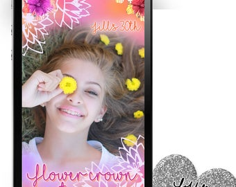 Flower Crown Party Snapchat Geofilter ~ Flower Snapchat Flower Party Filter Flower Geofilter Flower Crown Filter Snapchat Flowers