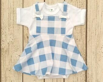 Baby Girl Halloween Costume, Baby Dorothy Dress, Newborn Halloween Costume, Blue Gingham Jumper Bodysuit, Infant Girl Halloween Outfit