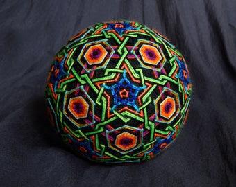 "Temari Ball ""Sansara"" Handmade Embroidery Psychedelic Art Home Decor"