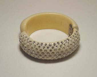 Vintage WEISS Ivory Celluloid & Clear Rhinestone Hinged Clamper Cuff Bracelet Estate Women's Jewelry Mid Century 50's Very Good Condition