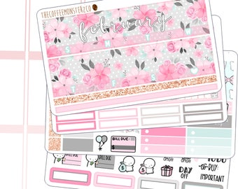 february monthly kit - hand painted planner sticker kits perfect for valentine's day!