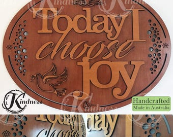 Wooden Wall Art, Today I Choose Joy, Inspirational Quote, inspirational gift, home sign decor