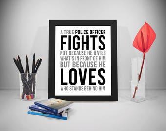 A True Police Officer Fights, Police Officer Gifts, Police Wife, Police Gifts, Police Officer Gift For Men, Law Enforcement,