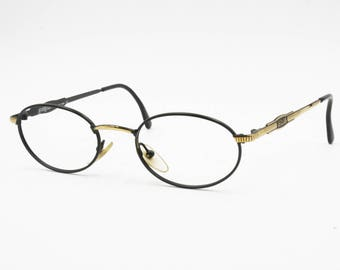 Le Club Actif mod. 1155 Matte black & Golden oval frame // Luxury and hype eyewear made in Italy // New Old Stock 1990s