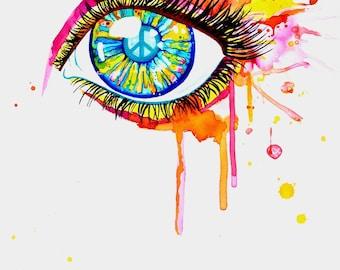 Originale Malerei von Buttafly ( Vanessa Brünsing ) - Peaceful Eye - 2014 - 36 x 48 cm - Kunstwerk -
