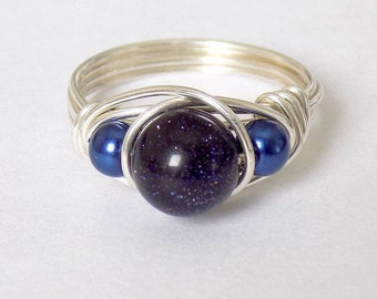 Dark Blue Goldstone Galaxy Ring in Fine Silver - Custom Ring Size, Handmade Ring, Wire Wrapped Ring, Dark Blue Pearls, Fine Silver Wire