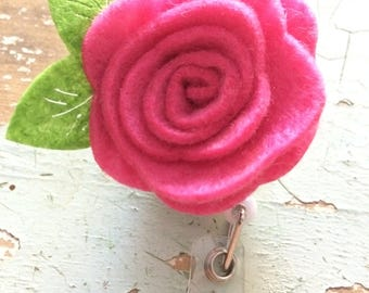 Pink rose flower ID badge reel holder retractable clip