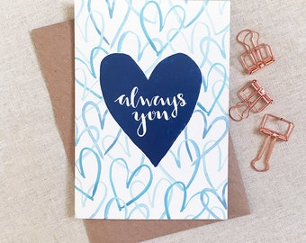 Always You Greetings Card (A6, Blue)