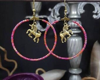Earrings Creole Pink Unicorn - Unicorn - girly - pink - Bohemian - kawaii - fairy - princess - Valentine's day